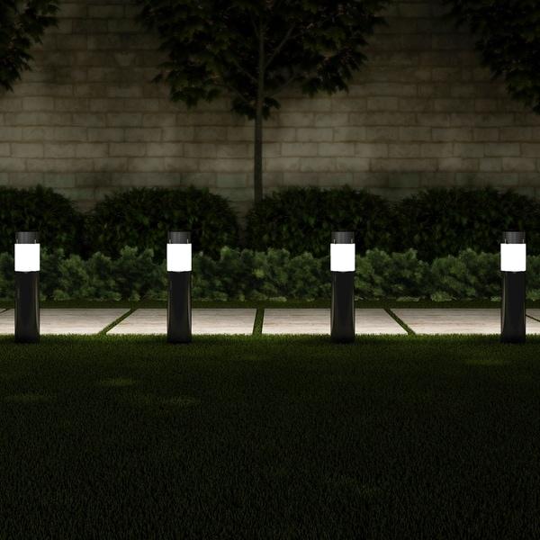 "Solar Path Bollard Lights, Set of 6 15"" Stainless Steel Pure Garden - N/A. Opens flyout."