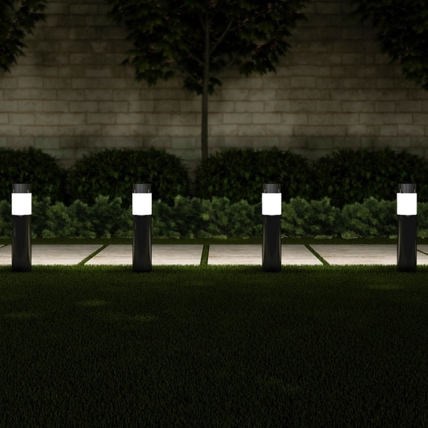 Solar Path Bollard Lights Set Of 6 15 Stainless Steel