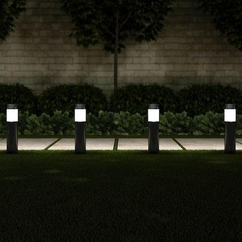 "Solar Path Bollard Lights, Set of 6 15"" Stainless Steel Pure Garden"