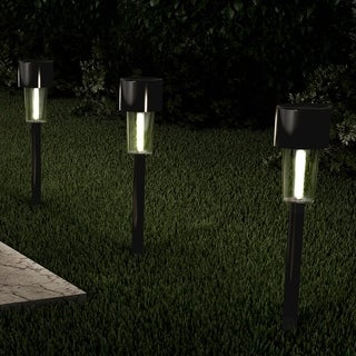 "Solar Path Lights 12.2"" Stainless Steel Set of 12 Pure Garden"