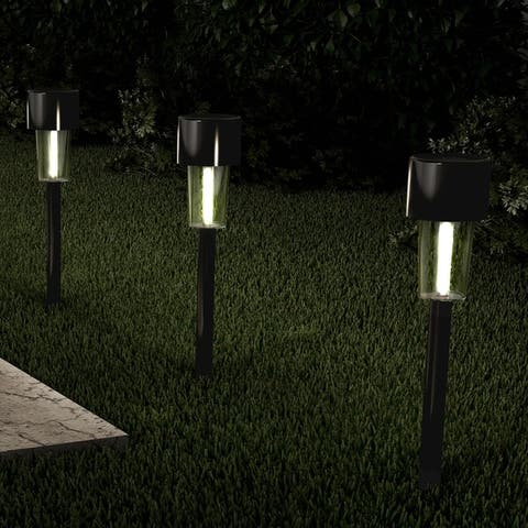 """Solar Path Lights 12.2"""" Stainless Steel Set of 12 Pure Garden"""