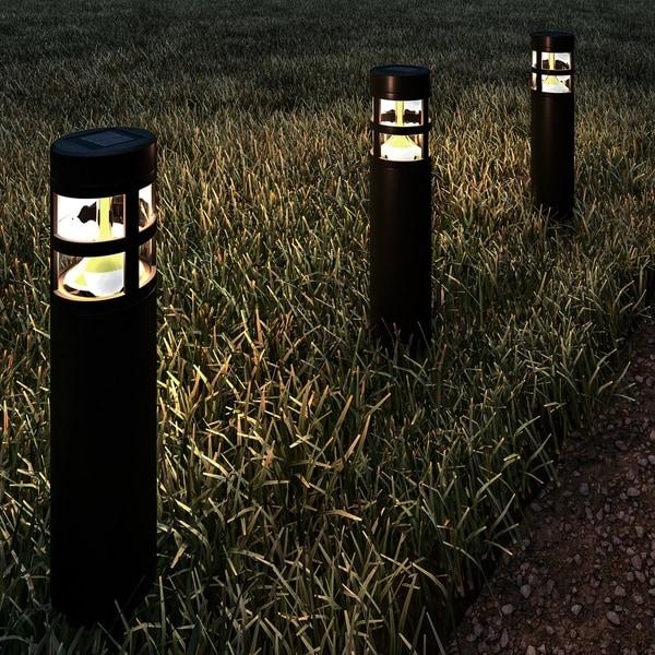 "5 Pathway Lighting Tips Ideas Walkway Lights Guide: Shop Solar Path Bollard Lights 15.4"" Set Of 8 Pure Garden"