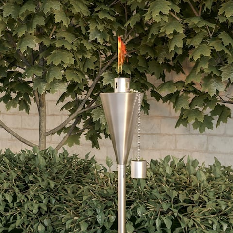 """Outdoor Torch Lamp- 46"""" Stainless Steel Fuel Canister Pure Garden"""