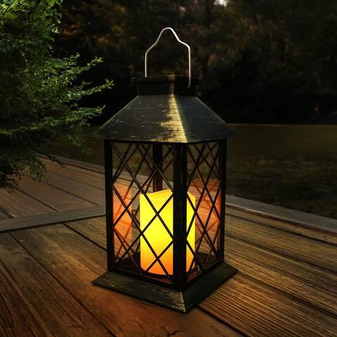 Solar Powered Lantern Hanging LED Candle Lavish Home