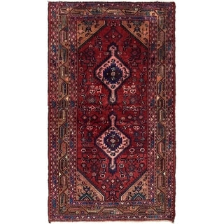 Hand Knotted Hossainabad Semi Antique Wool Area Rug - 3' 7 x 6' 4