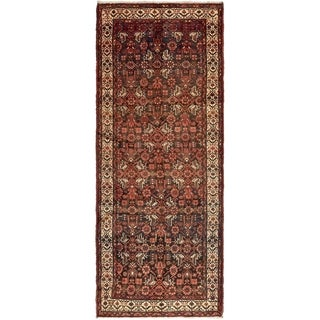 Hand Knotted Hossainabad Semi Antique Wool Runner Rug - 3' 8 x 9' 5