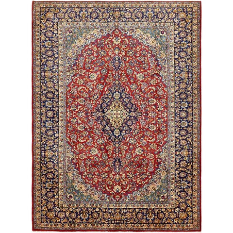 Hand Knotted Isfahan Semi Antique Wool Area Rug - 9' 10 x 13' 3