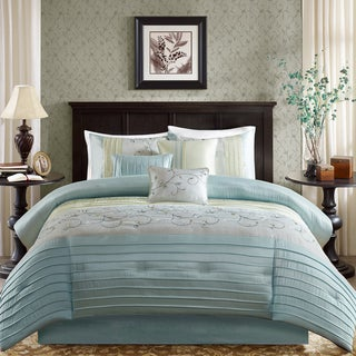Link to Madison Park Belle 7 Piece Queen Size Embroidered Comforter Set in Aqua (As Is Item) Similar Items in As Is
