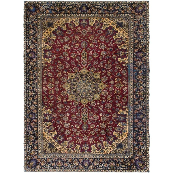Shop Hand Knotted Isfahan Antique Wool Area Rug