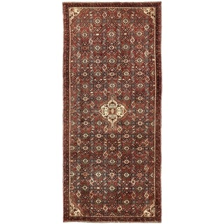 Hand Knotted Hossainabad Semi Antique Wool Runner Rug - 4' x 9' 8
