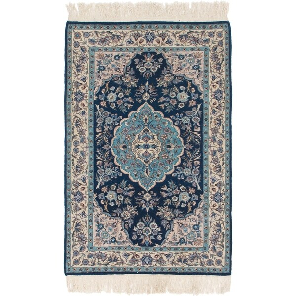 Hand Knotted Persian Isfahan Wool Area Rug: Shop Hand Knotted Isfahan Kork Wool Area Rug