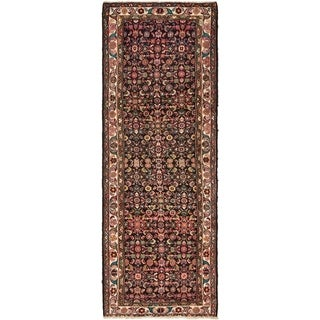 Hand Knotted Hossainabad Semi Antique Wool Runner Rug - 3' 6 x 9' 10
