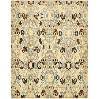 Hand Knotted Ikat Wool Area Rug - 7' 10 x 10'