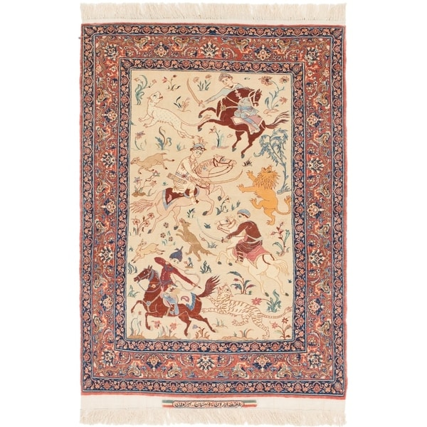 Hand Knotted Persian Isfahan Wool Area Rug: Shop Hand Knotted Isfahan Semi Antique Kork Wool Area Rug