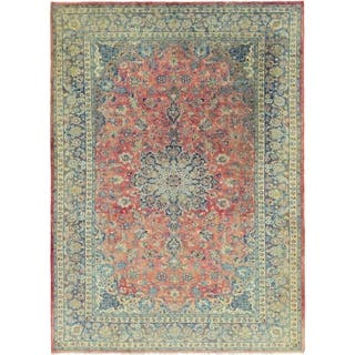 Hand Knotted Isfahan Antique Wool Area Rug - 10' x 13' 9