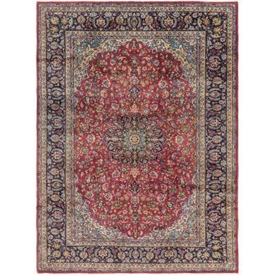 Hand Knotted Isfahan Semi Antique Wool Area Rug - 9' 9 x 13'