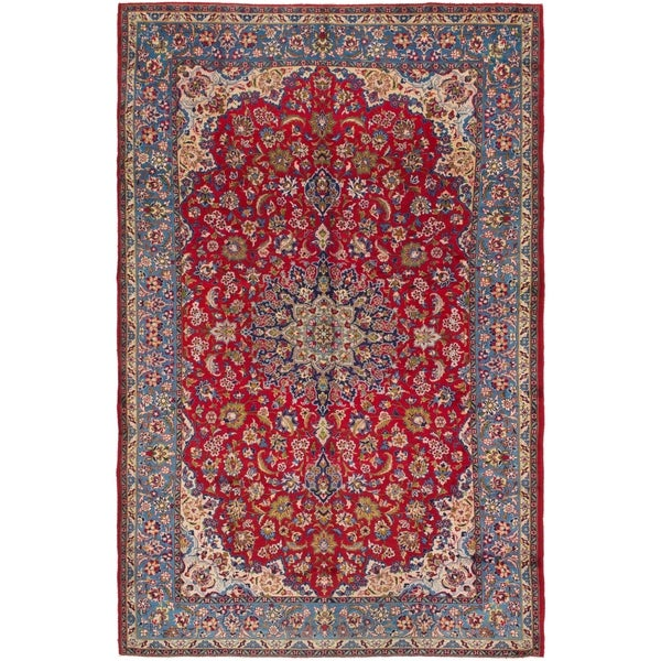 Hand Knotted Persian Isfahan Wool Area Rug: Shop Hand Knotted Isfahan Semi Antique Wool Area Rug
