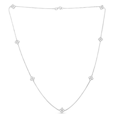 Sterling-Silver 1/4ct TDW Diamond Station Necklace (I-J, I1-I2)