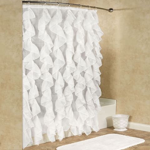 "Sheer Voile Vertical Waterfall Ruffled Shower Curtain (70""x72"") Assorted Colors"