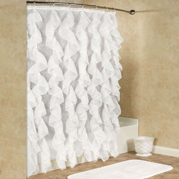 Sheer Voile Vertical Waterfall Ruffled Shower Curtain 70x72 Assorted Colors