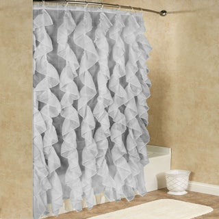 """Sheer Voile Vertical Waterfall Ruffled Shower Curtain (70""""x72"""") Assorted Colors"""