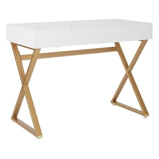 OSP Home Furnishings Juliette Vanity with White Top and Gold legs