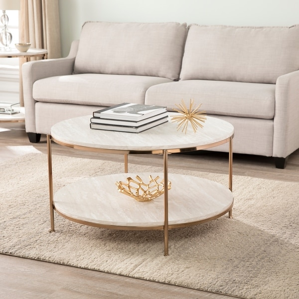 Silver Orchid Henderson Round Faux Stone Cocktail Table