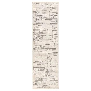 """Eimes Abstract Beige/ Gray Runner Rug - 2'6"""" x 8' Runner"""