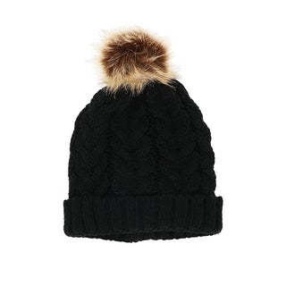 LA77 Braided Knit Pop Pom Beanie Hat