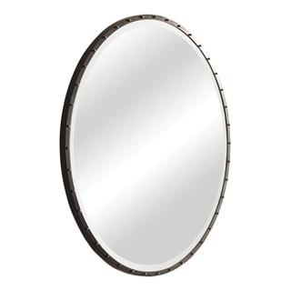 Uttermost Benedo Rustic Black Round Mirror - Antique Silver - 42x42x1.5