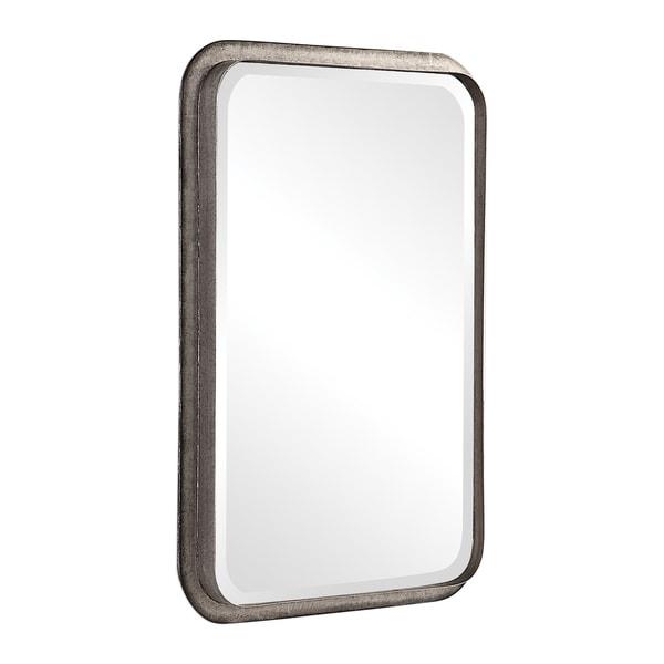 Uttermost Madox Brown Industrial Mirror - Antique Silver - 22.5x32.5x2