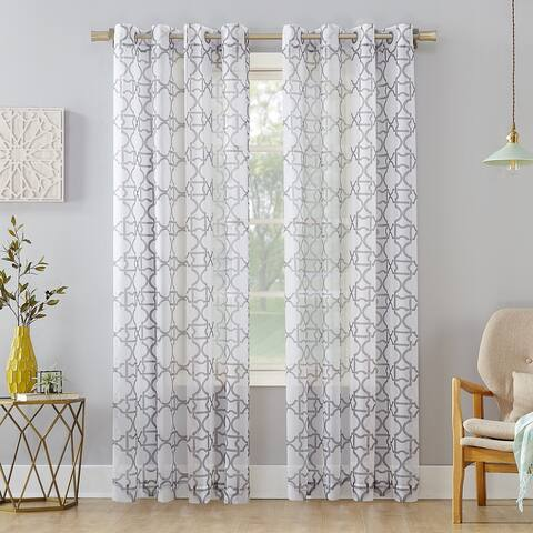 No. 918 Powell Trellis Sheer Grommet Curtain Panel