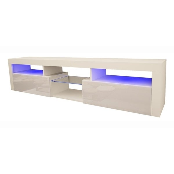 Shop Bari 200 Wall Mounted Floating 79 Tv Stand With 16 Color Leds