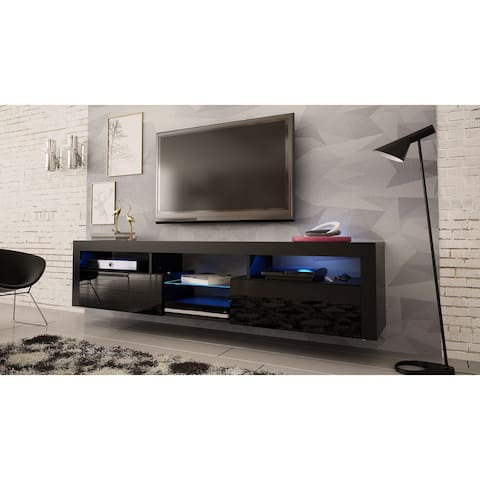 "Bari 200 Wall Mounted Floating 79"" TV Stand with 16 Color LEDs"