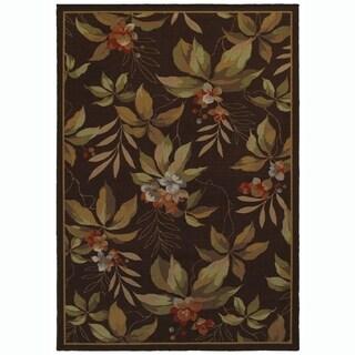Border Floral Brown/Green Indoor-Outdoor Area Rug - 5'3 x 6'7