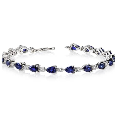 Created Sapphire Bracelet Sterling Silver Pear Shape 6.75 Carats