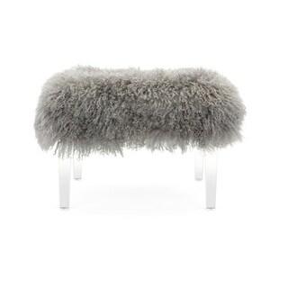 Brietta Tibetan Fur and Clear Acrylic Bench
