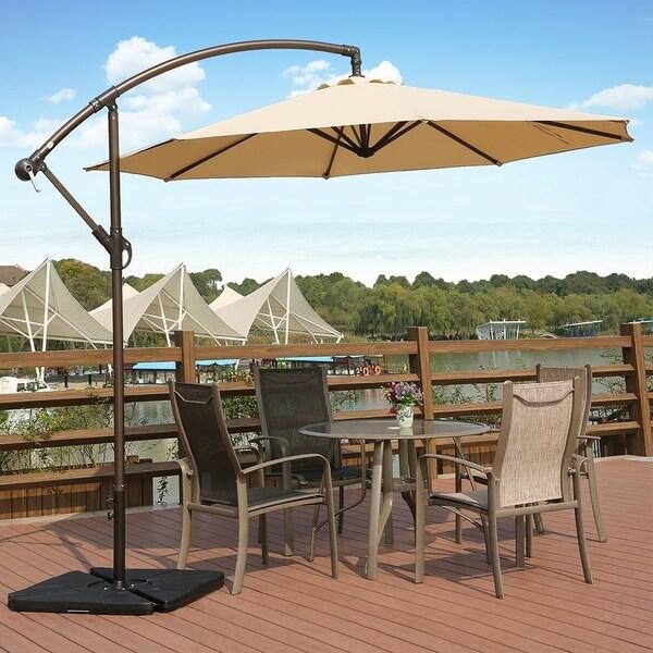 Weller 10ft Offset Canopy Umbrella & 4 PC Umbrella Base Weights
