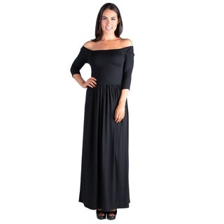 24/7 Comfort Apparel Women's Off Shoulder Maxi Dress