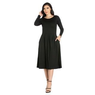 24/7 Comfort Apparel Women's Long Sleeve Midi Dress