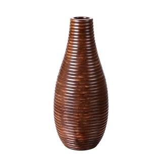 """Villacera Handmade 14"""" Tall Bottle Mango Wood Round Ripple Vase"""