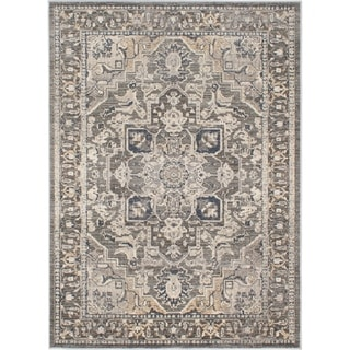 ECARPETGALLERY Machine Woven Persia Cream, Grey Polypropylene Rug - 7'10 X 10'2