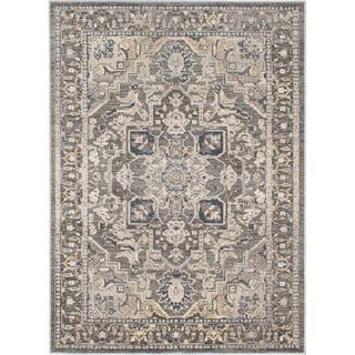 ECARPETGALLERY Machine Woven Persia Cream, Grey Polypropylene Rug - 5'3 X 7'3