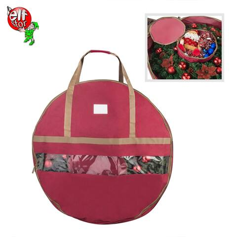 "Elf Stor Ultimate Red Holiday Christmas Wreath Storage Bag For 36"" Wreaths"