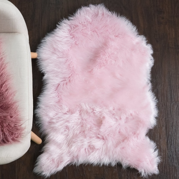 Sweet Home Collection Faux Fur Rug (3'X2') Pink - 3'x2'