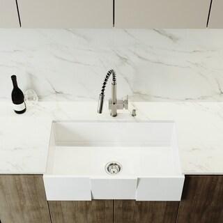 VIGO White 33-inch Square Front Matte Stone Farmhouse Kitchen Sink