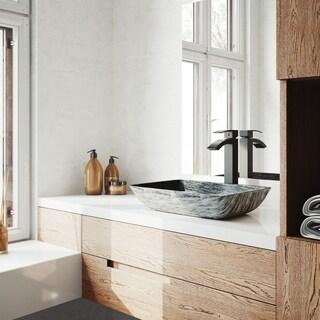 VIGO Titanium Glass Vessel Bathroom Sink and Duris Vessel Faucet Set