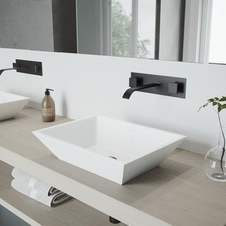 VIGO Titus Matte Black Wall Mount Bathroom Faucet