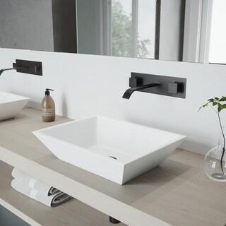 VIGO Titus Matte Black Wall Mount Bathroom Faucet