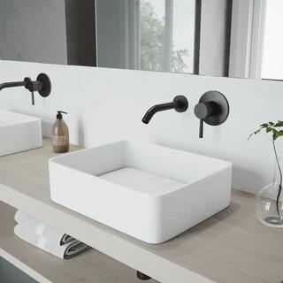 VIGO Olus Matte Black Wall Mount Bathroom Faucet